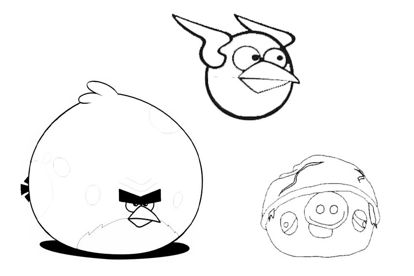 Angry Birds coloring pages overview with crazy cool birds
