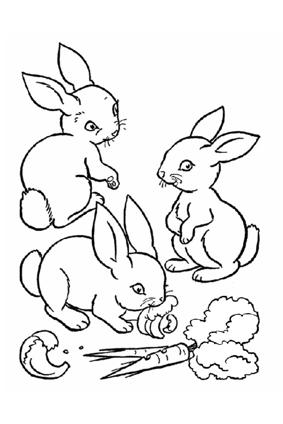 3 rabbits - Rabbit Coloring Pages