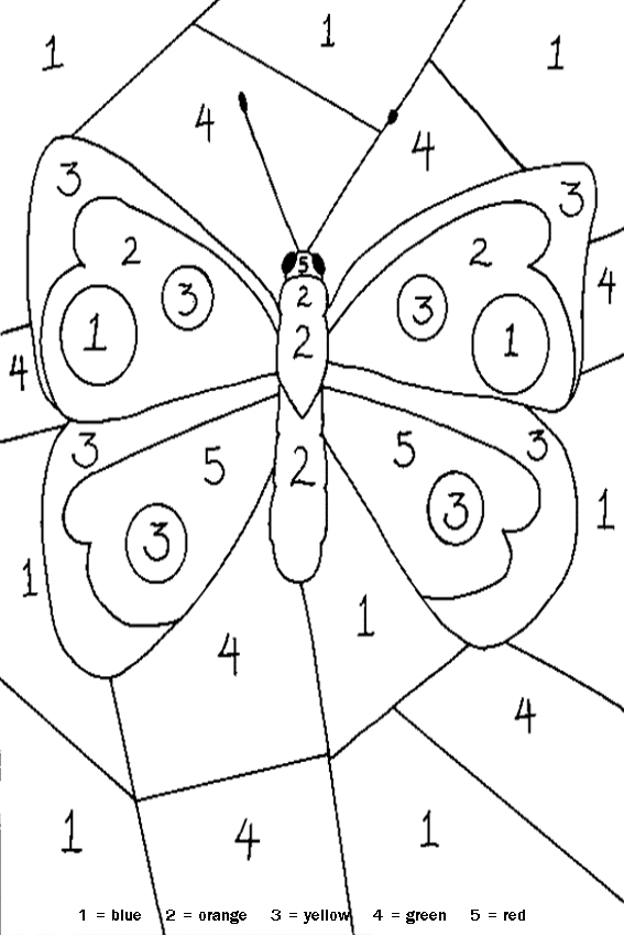 game with objects coloring in a butterfly