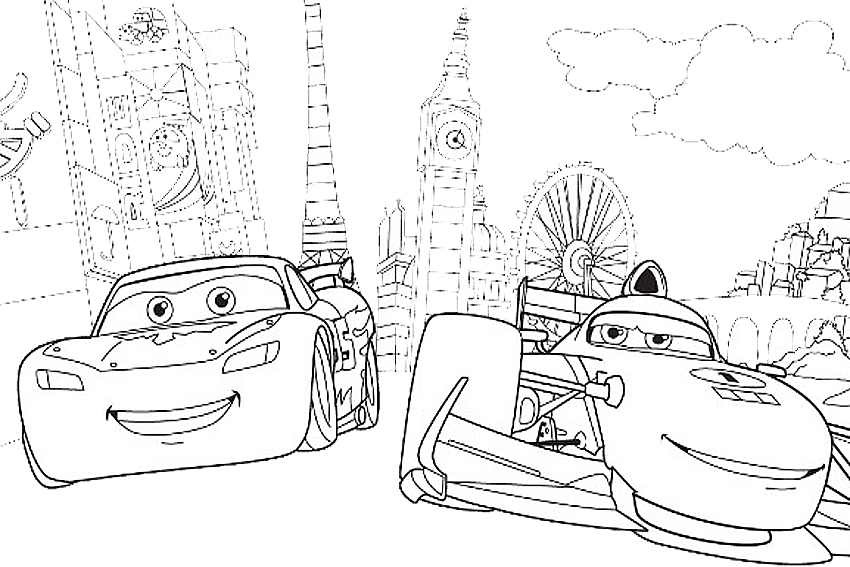 Coloring in cars coloring pages