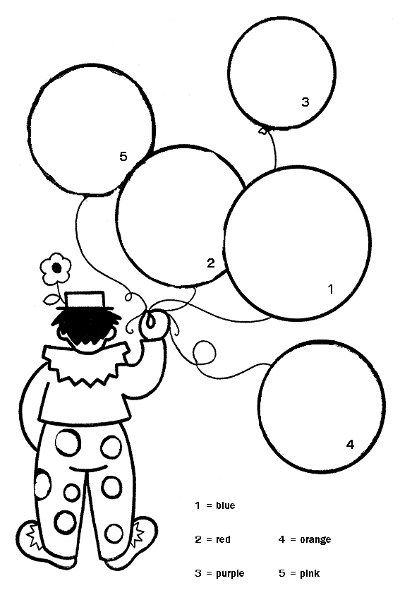 coloring in a clown with balloons