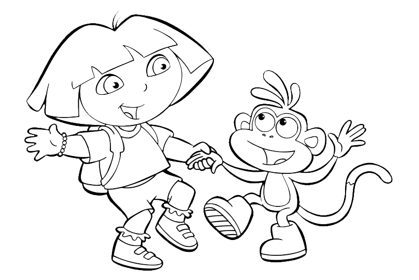 Dora coloring pages overview with