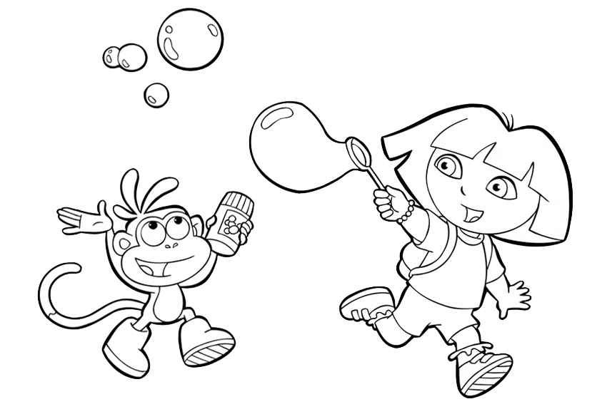 Blowing Bubbles Coloring Pages Dora Overview With All