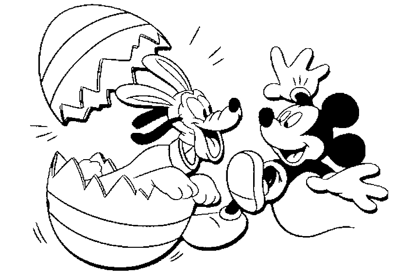 pluto surprises mickey mouse by jumping out of a super easter egg categoriescoloring pages
