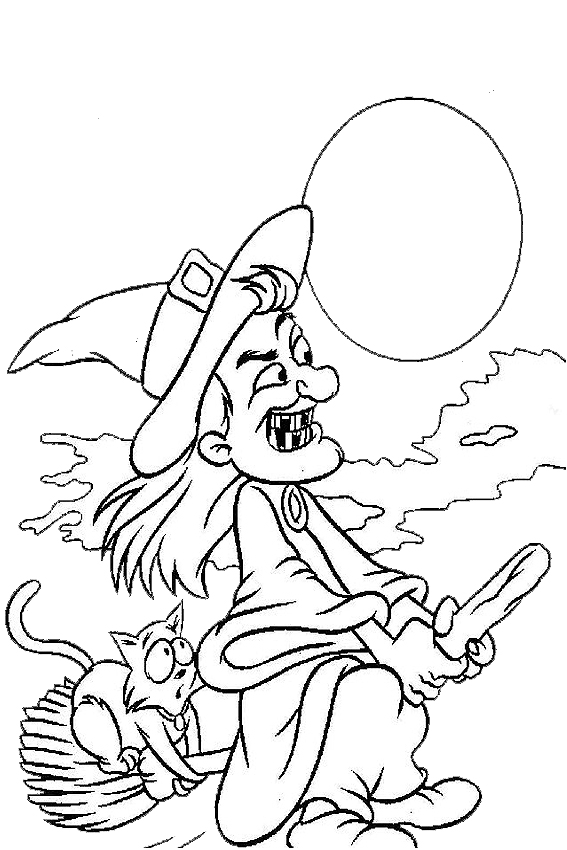 Coloring Pages For Halloween Witches : Halloween coloring pages from monsters witches ghosts etc