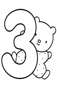 3th birthday coloring page