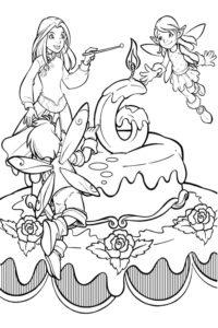 Fairies with a birthday cake