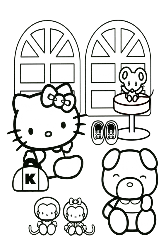 Coloring Page Of Hello Kitty And Friends
