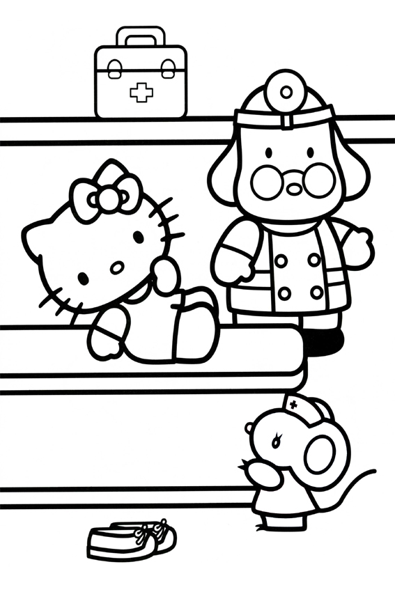 hello kitty coloring pages overview with a lot of kitties - Kitty Doctor Coloring Pages