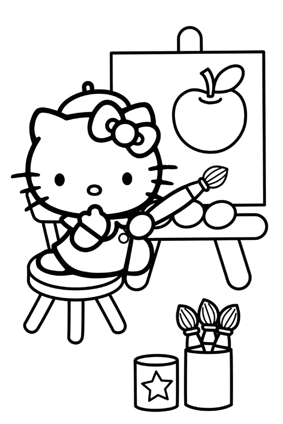 hide and seek hello kitty coloring pages draw an apple and color it in - Hello Kitty Drawing Pictures