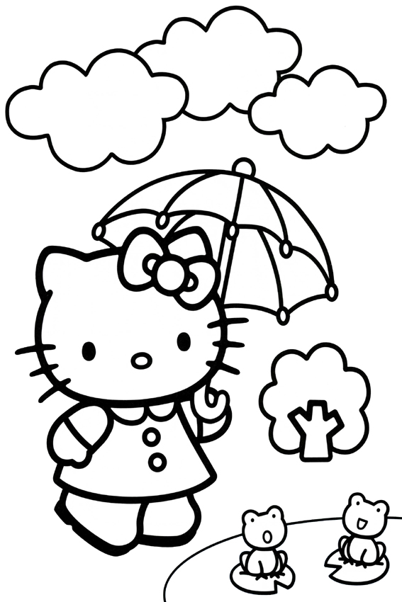 Hello Kitty Coloring Pages Its Raining So We Need An Umbrella
