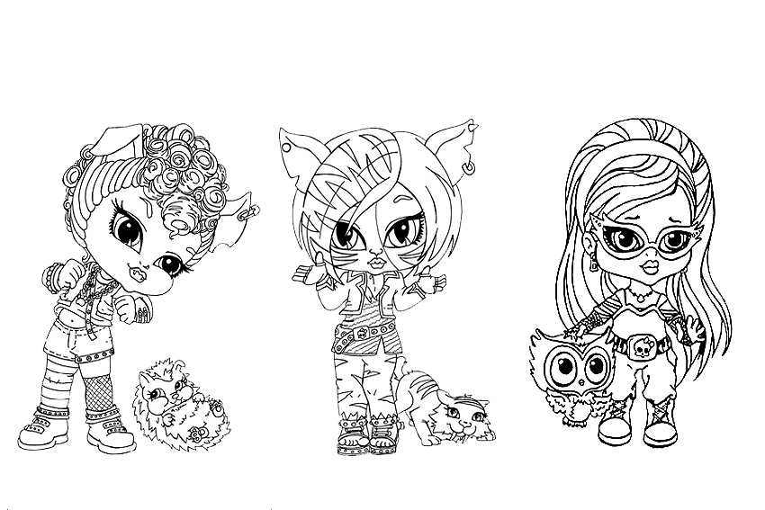 coloring pages monster high girls and their monster pets - Girls Coloring Pages Monster High