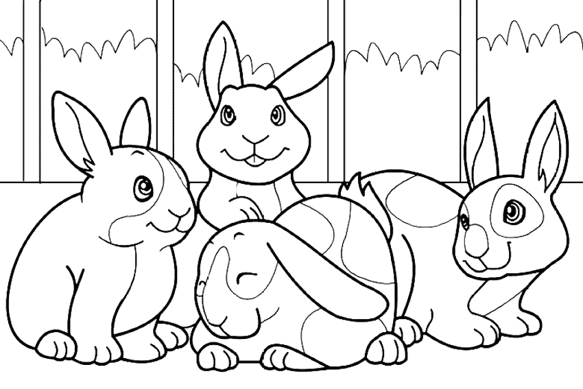 bunny coloring page with rabbits
