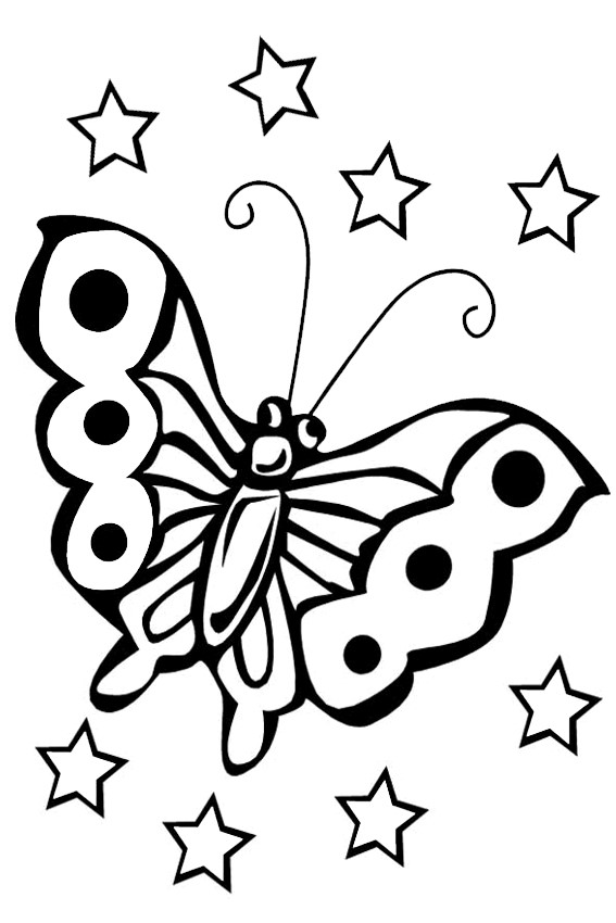 Butterflies Flying Around The Ponies Butterfly Coloring Sheet
