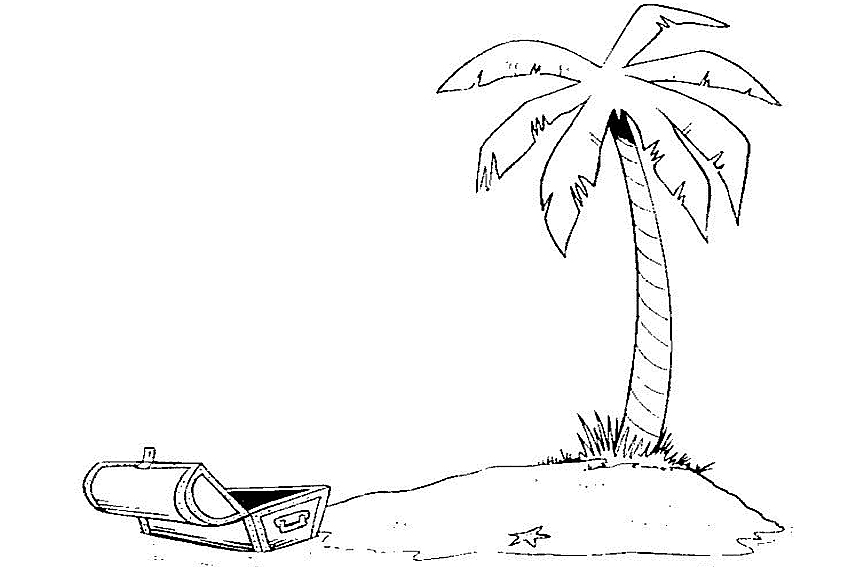 summer coloring pages - Palm Tree Beach Coloring Page