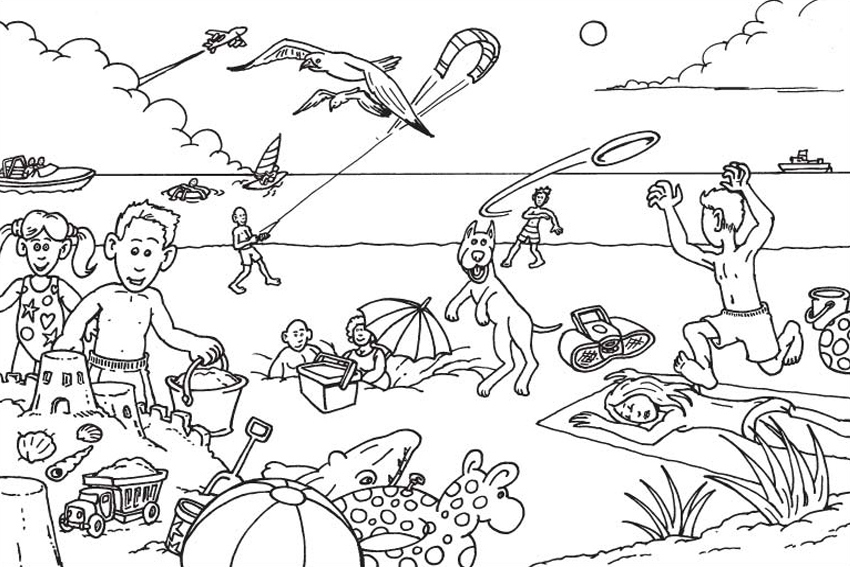 summer slide floating on a boat beach coloring page
