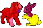 A dog and hare colored in