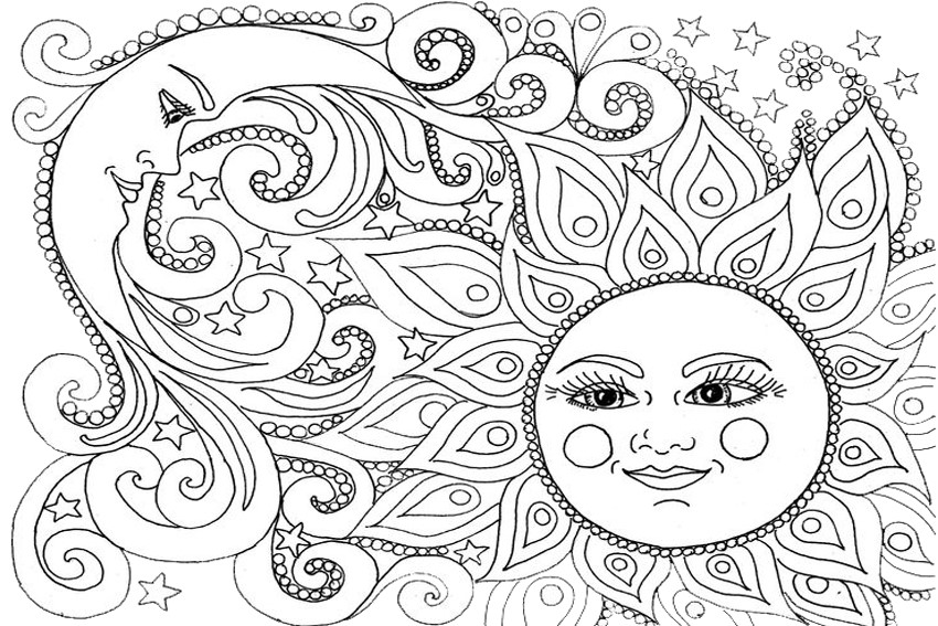 Coloring Pages Sun And Moon Coloring Pages
