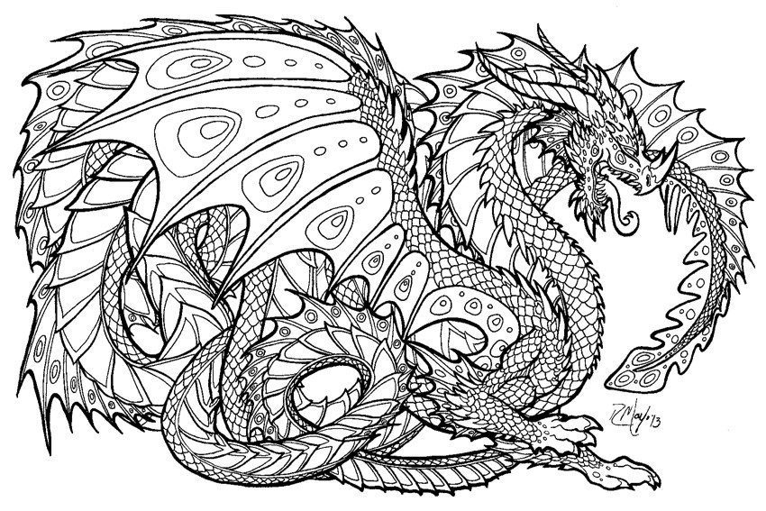 Elephant Adult Coloring Sheets Dragon Art