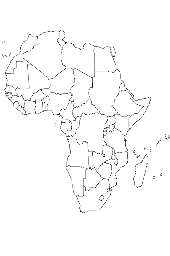 African Coloring Pages Africa Page Map Learning Tool