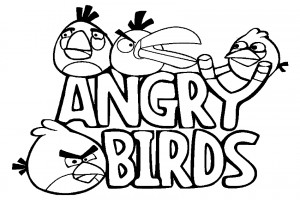 4 Angry Birds in a coloring page