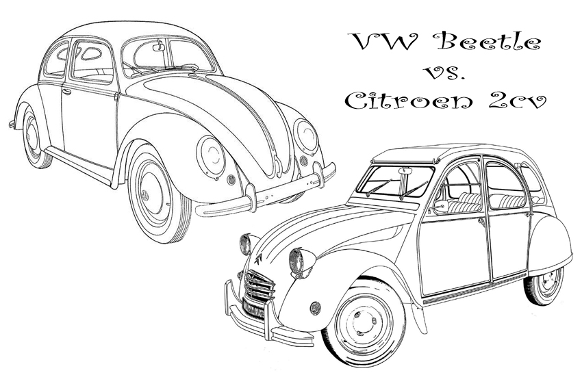 Antique Car Vs A Sportscar VW Beetje Citroen 2cv