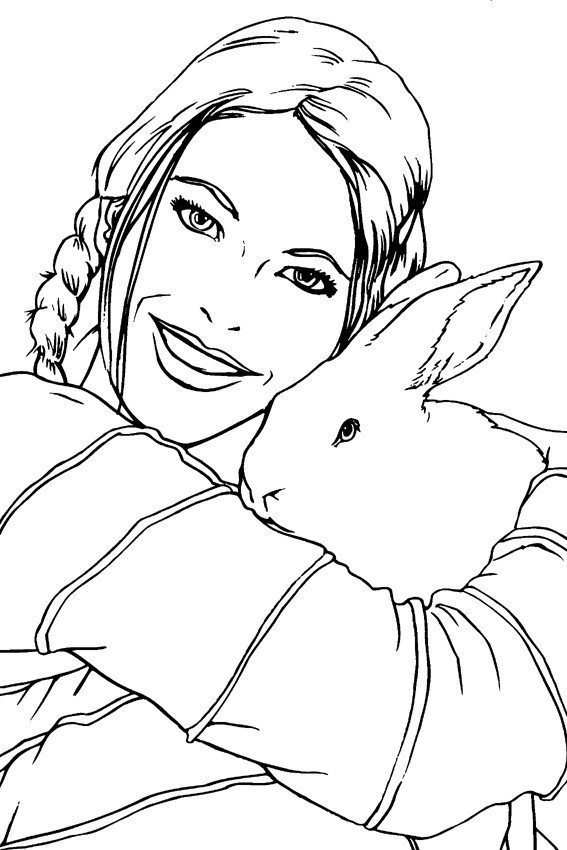 Color in a bunny coloring page