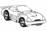 Coloring page of a car with racing flames
