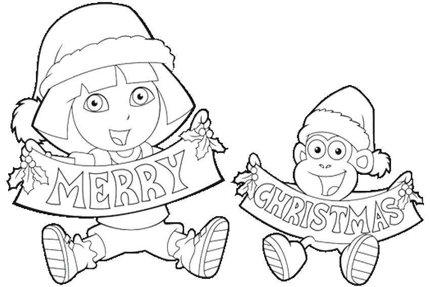 Funny Face Of Santa Merry Christmas By Dora And Boots White Coloring Pages Sante With Presents