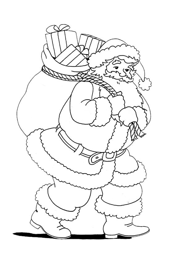 Dora And Boots White Christmas Coloring Pages Of Sante With Presents