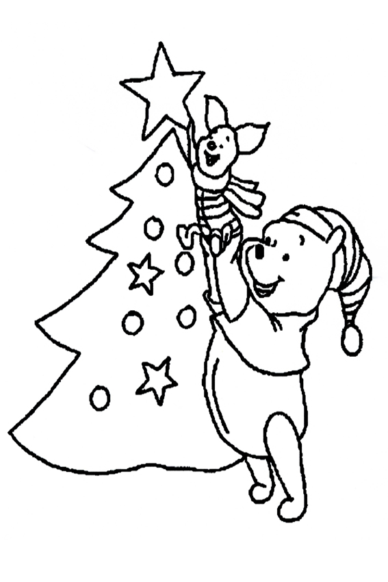 presents coloring page pooh decorating the christmas tree