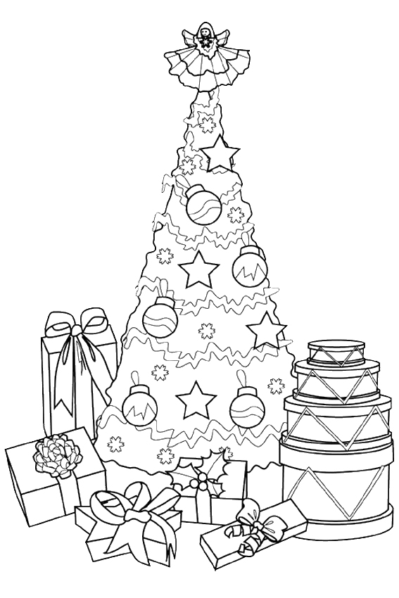 Christmas Coloring Pages Overview With Nice Coloring Pages Tree Coloring Pages With Presents