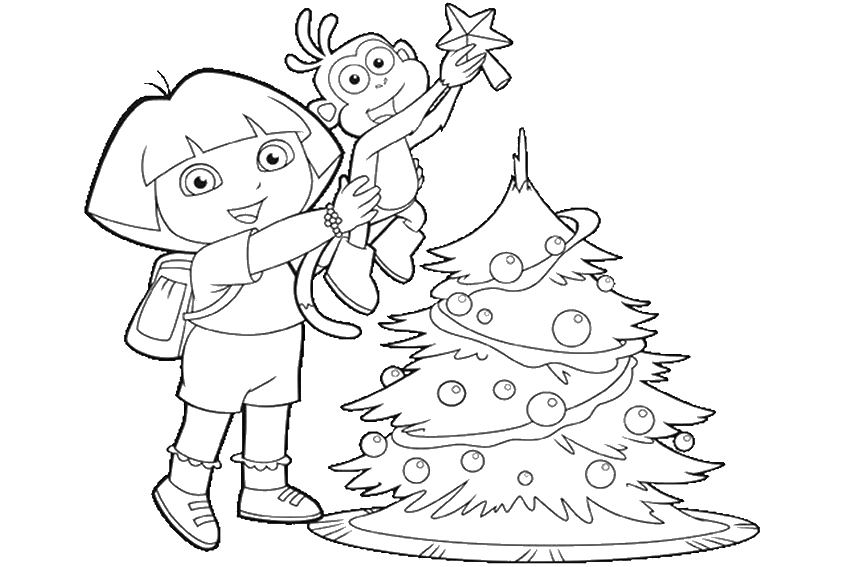 presents under the christmas tree dora and boots coloring page santa santa in a sledge