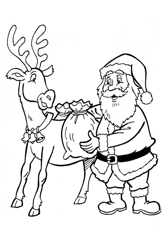 santa and a reindeer christmas coloring