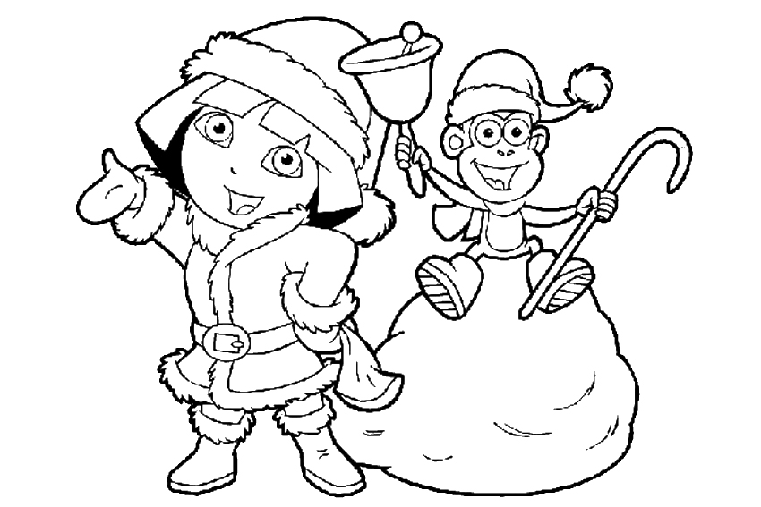 Santa And A Reindeer Christmas Coloring Page Dora Boots Playing Candlelight