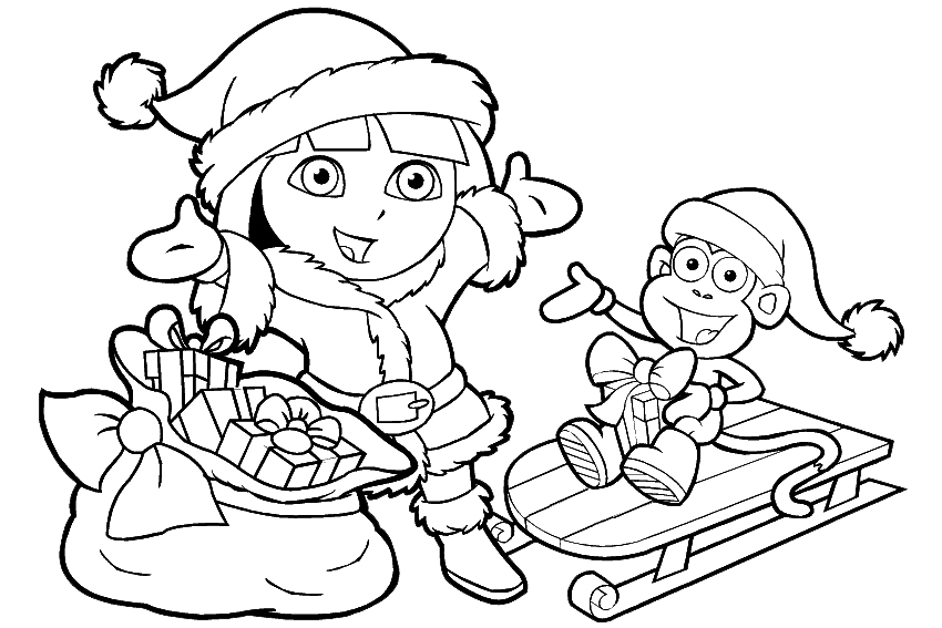 Presents Christmas Bells Coloring Page Pages 020