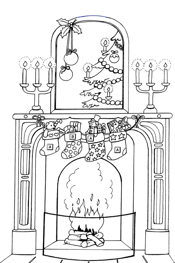 Cozy Fire Coloring Page Merry Christmas