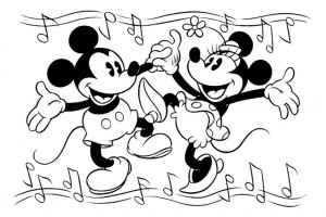 Mickey Mouse dancing with Minnie Mouse
