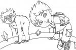Diego having fun with a monkey
