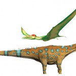 Pteranodon and a huge dinosaur