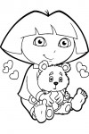 Dora completely in love with a cute teddybear