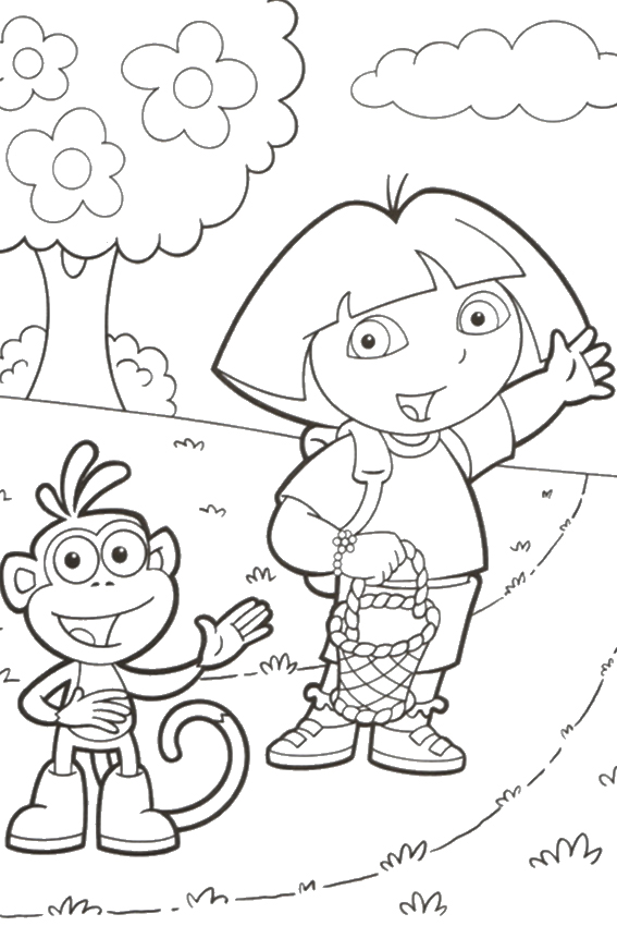 Swiper Coloring Page Dancing Boots Dora And On Their Way
