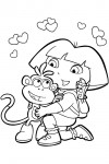 Coloring page from Dora, Boots and Map