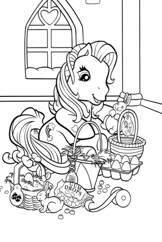 Easter coloring pages to color in on a rainy easter sunday for My little pony easter coloring pages