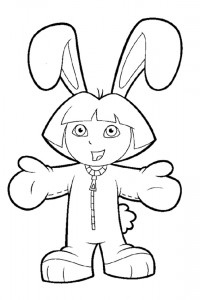 Dora dressed up as a Easter Bunny
