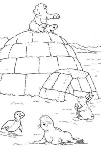 Igloo surrounded by animals
