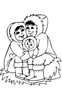 Happy Eskimo family