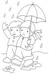 Kids in the rain with autumn