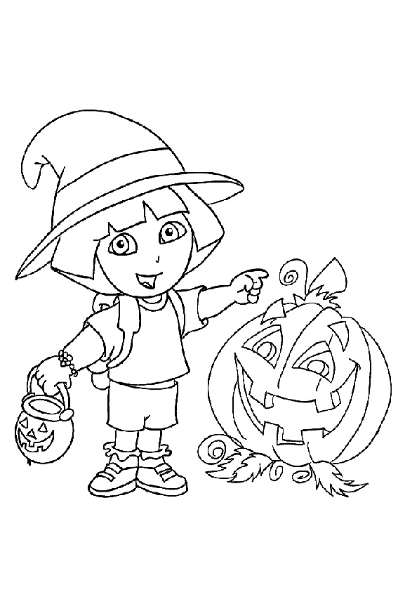 Halloween coloring pages from monsters witches ghosts etc for Dora halloween coloring pages