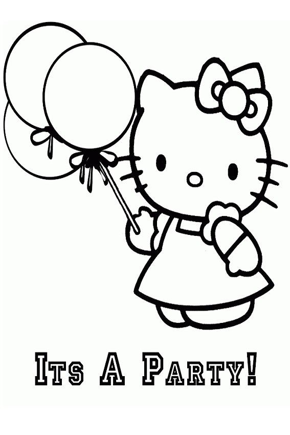 Party With Hello Kitty Minions Coloring Page